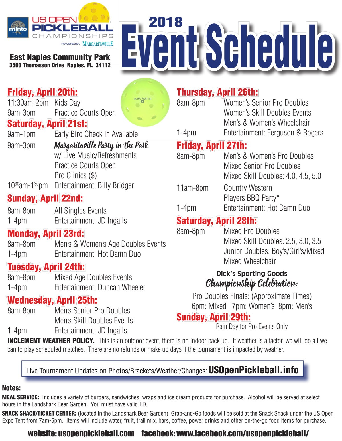 US Open Pickleball Schedule - Collier County Sports